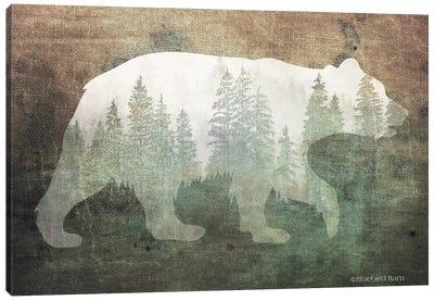 Green Forest Bear Silhouette Canvas Art Print