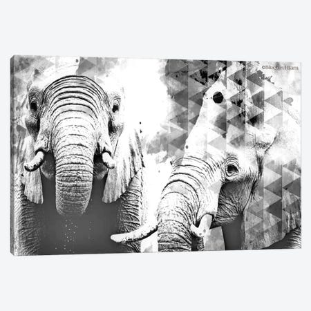 Modern Black & White Elephants    Canvas Print #BLB188} by Bluebird Barn Art Print