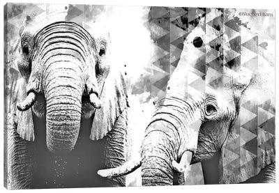 Modern Black & White Elephants    Canvas Art Print