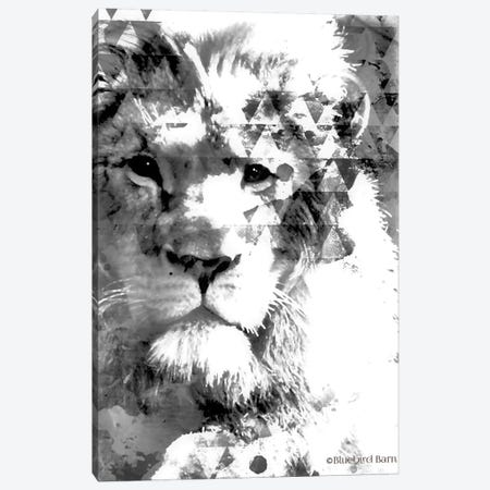 Modern Black & White Lion Canvas Print #BLB190} by Bluebird Barn Canvas Art