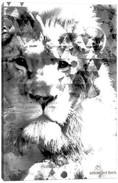 Modern Black & White Lion Canvas Art Print