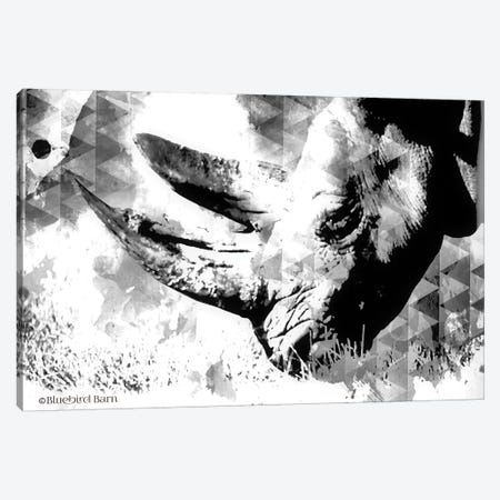 Modern Black & White Rhino    Canvas Print #BLB191} by Bluebird Barn Canvas Art