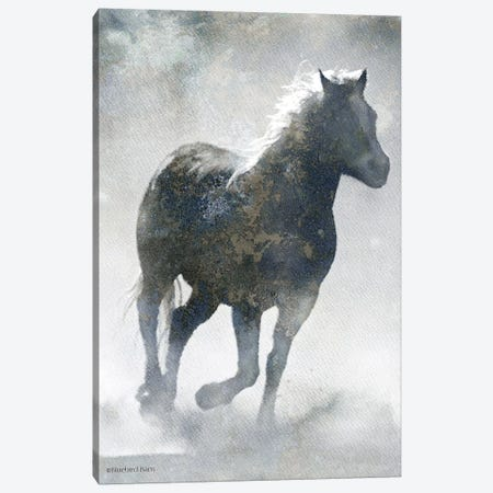 Textured Dark Running Horse Canvas Print #BLB203} by Bluebird Barn Canvas Wall Art