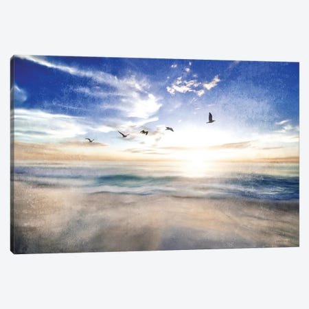 Seascape with Gulls Canvas Print #BLB236} by Bluebird Barn Canvas Wall Art