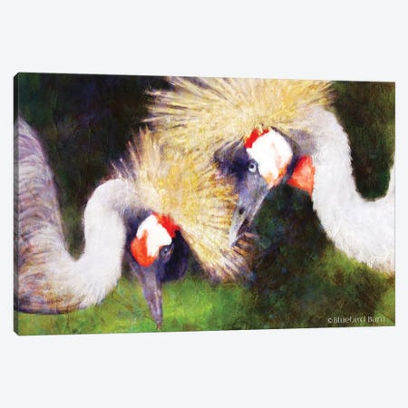Two Cranes Canvas Print #BLB256} by Bluebird Barn Canvas Wall Art