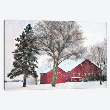 Snowy Barn Canvas Print #BLB271} by Bluebird Barn Canvas Print
