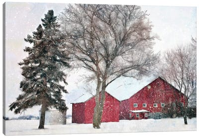 Snowy Barn Canvas Art Print
