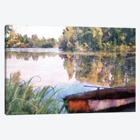 Rowboat Pond Landscape Canvas Print #BLB278} by Bluebird Barn Canvas Print