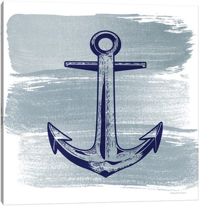Brushed Midnight Blue Anchor Canvas Art Print