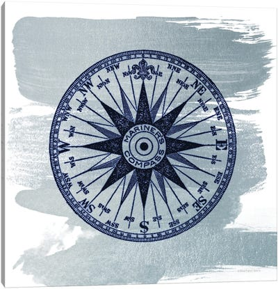 Brushed Midnight Blue Compass Rose Canvas Art Print