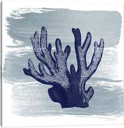 Brushed Midnight Blue Elkhorn Coral Canvas Art Print
