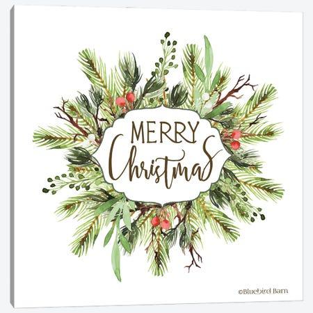 Merry Christmas Greenery I Canvas Print #BLB314} by Bluebird Barn Art Print