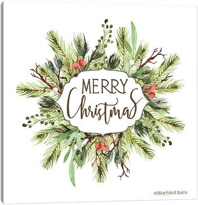 Merry Christmas Greenery I Canvas Art Print