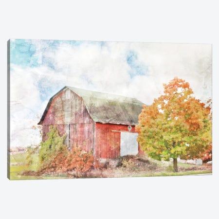 Autumn Maple by the Barn Canvas Print #BLB3} by Bluebird Barn Canvas Art