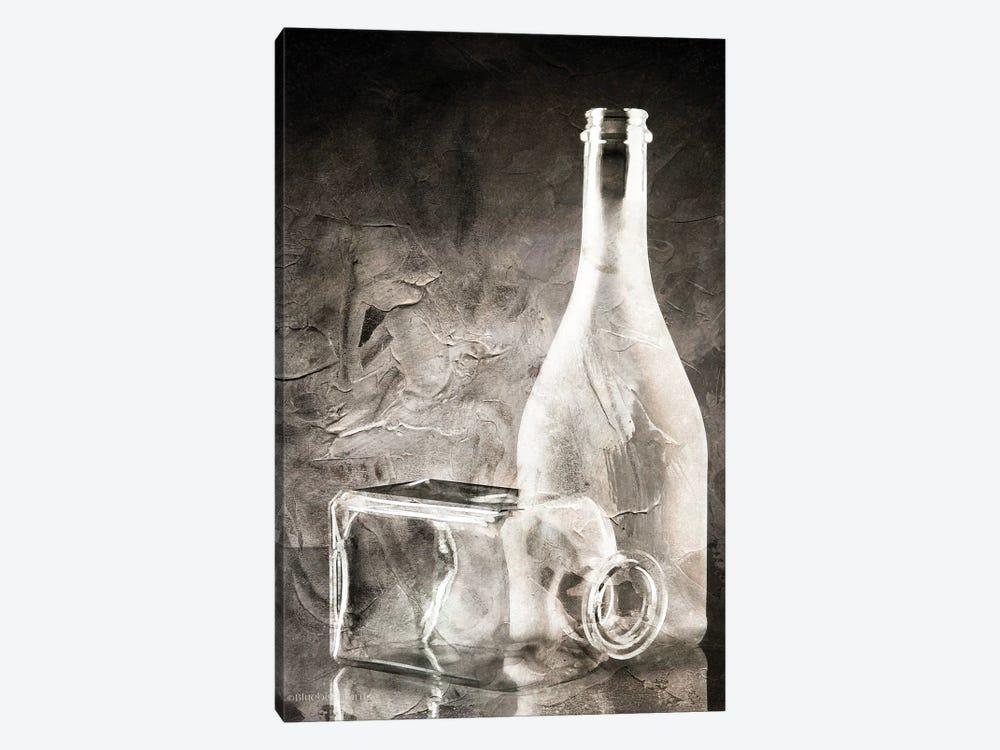 Moody Gray Glassware Still Life by Bluebird Barn 1-piece Canvas Print