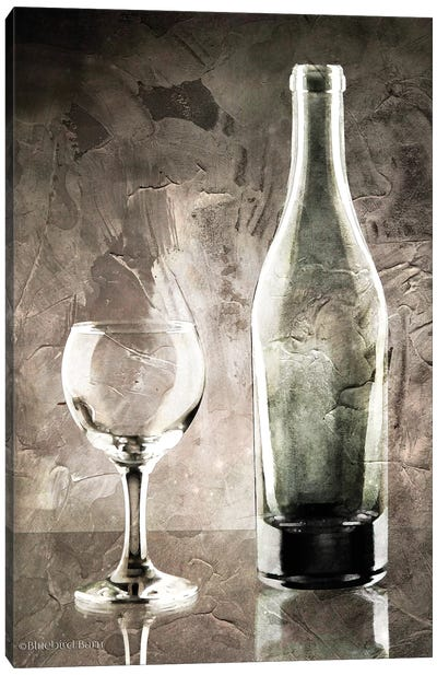 Moody Gray Wine Glass Still Life Canvas Art Print