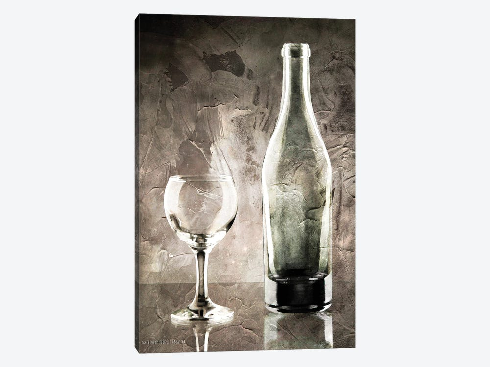 Moody Gray Wine Glass Still Life by Bluebird Barn 1-piece Canvas Artwork