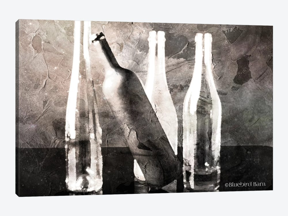 Moody Grey Bottles Still Life by Bluebird Barn 1-piece Art Print