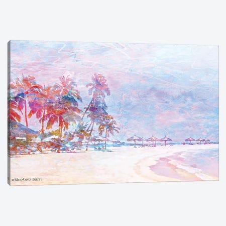 Rainbow Bright Sandy Beach Umbrellas Canvas Print #BLB75} by Bluebird Barn Art Print