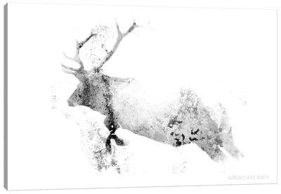 Running Woodland Minimalist Elk Canvas Art Print