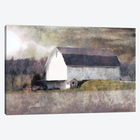 Rustic White Barn Scene I Canvas Print #BLB80} by Bluebird Barn Canvas Art Print