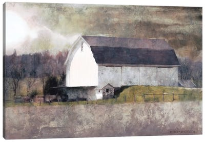 Rustic White Barn Scene I Canvas Art Print