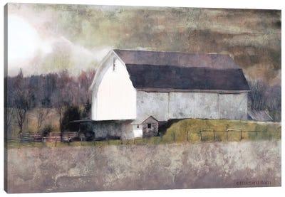 Rustic White Barn Scene I Canvas Art Print