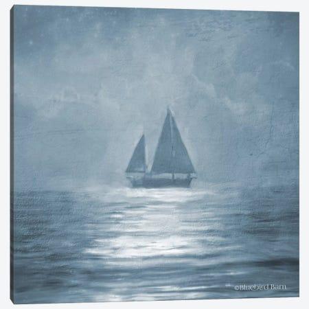 Solo Blue Sea Sailboat Canvas Print #BLB87} by Bluebird Barn Canvas Wall Art