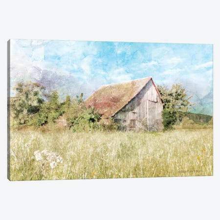 Spring Green Meadow by the Old Barn Canvas Print #BLB90} by Bluebird Barn Canvas Art