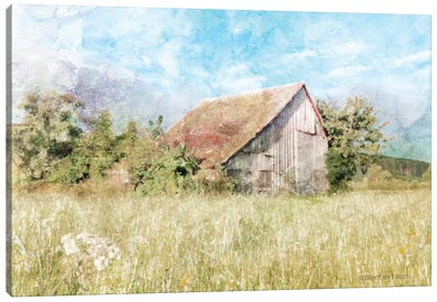 Spring Green Meadow by the Old Barn Canvas Art Print