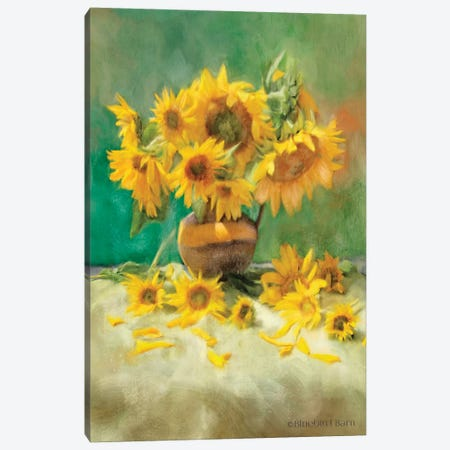 Sunflower Scatter Still Life Canvas Print #BLB93} by Bluebird Barn Canvas Wall Art