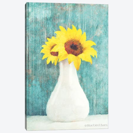 Sunflower White Vase Canvas Print #BLB94} by Bluebird Barn Art Print