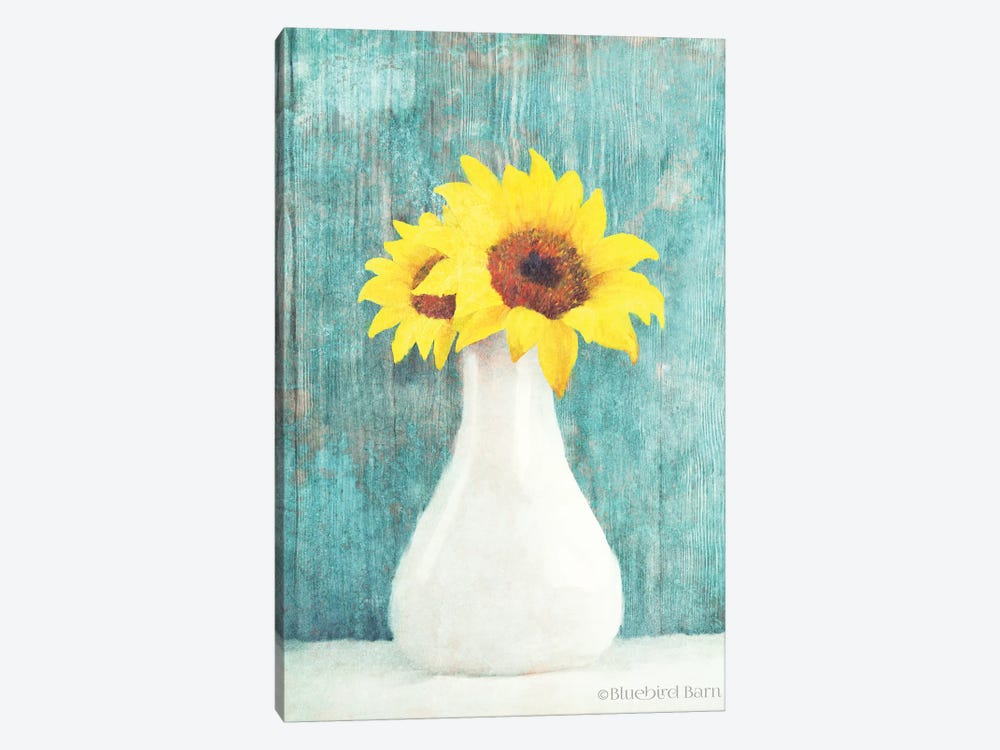 Sunflower White Vase by Bluebird Barn 1-piece Art Print