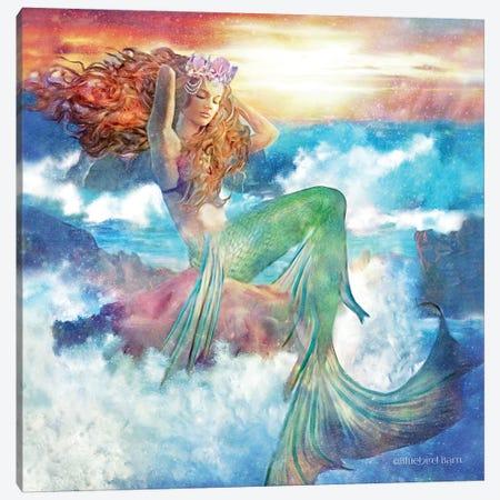 Sunset Mermaid Canvas Print #BLB95} by Bluebird Barn Canvas Art Print