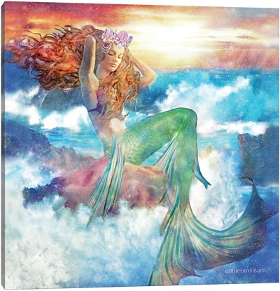 Sunset Mermaid Canvas Art Print