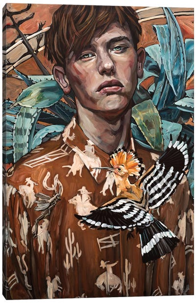 Man With Hoopoe Canvas Art Print