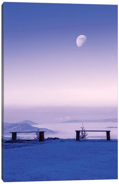 Above The Clouds Under The Moon Canvas Art Print