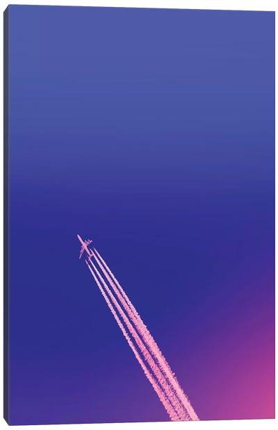 Deep Blue Sky And Plane Canvas Art Print
