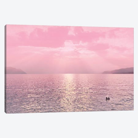 Kiss In The Lake At Sunset Canvas Print #BLI51} by Beli Art Print