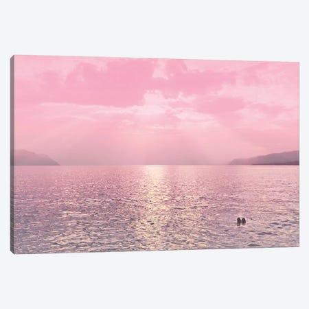 Kiss In The Lake At Sunset Canvas Print #BLI51} by Beli Art Print