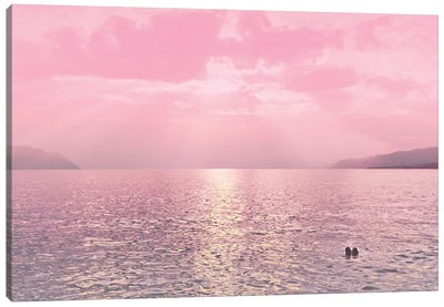 Kiss In The Lake At Sunset Canvas Art Print