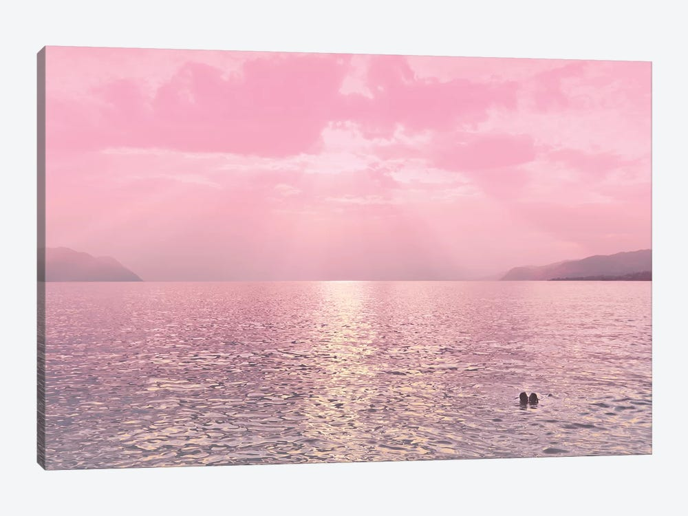 Kiss In The Lake At Sunset by Beli 1-piece Canvas Print