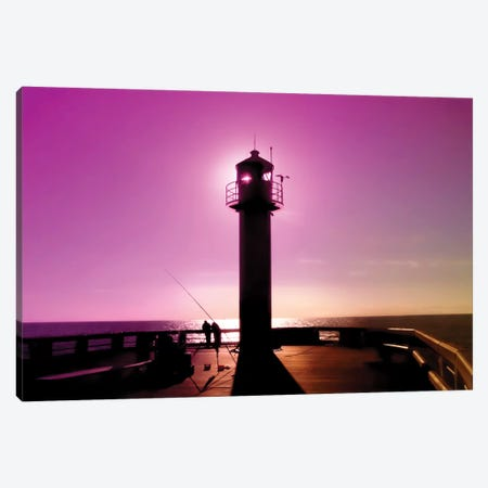 Romance At Sunset Under Sea Lighthouse Canvas Print #BLI79} by Beli Canvas Art Print