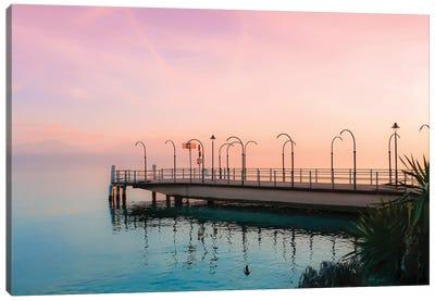 Along Geneva Lake At Sunset Canvas Art Print