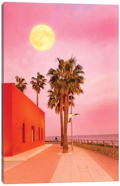 Super Moon At Sunset Canvas Art Print