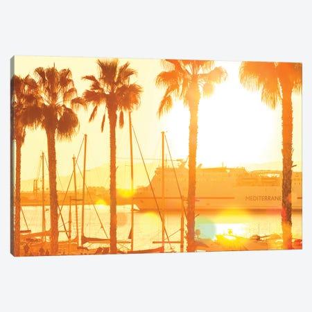 The Marina At Sunset Canvas Print #BLI99} by Beli Canvas Art Print