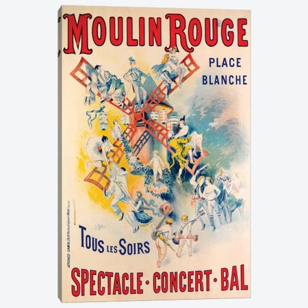 Moulin Rouge Spectacle-Concert-Bal Advertisement, 1891 Canvas Print #BLN1} by Jose Belon Canvas Artwork