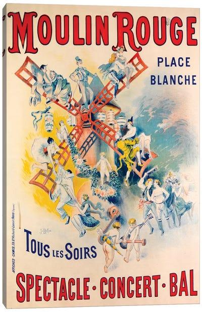 Moulin Rouge Spectacle-Concert-Bal Advertisement, 1891 Canvas Art Print