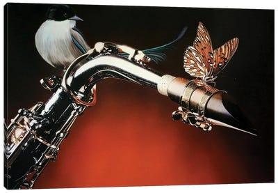 Flying Sax Canvas Art Print