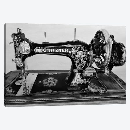 The Machine XI Black And White Canvas Print #BLO69} by J.Bello Studio Canvas Art